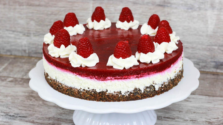 Himbeer Quark Torte Mohn Torte Mit Quark Und Himbeer Fruchtspiegel